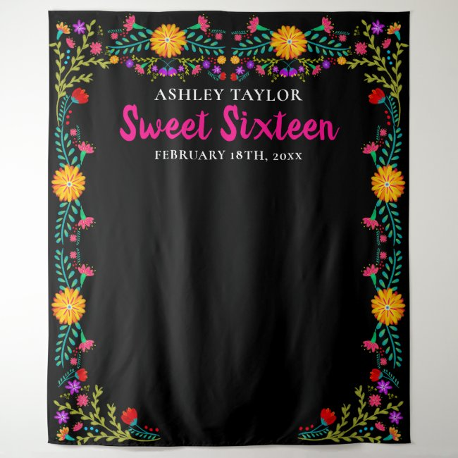 Sweet Sixteen Photo Booth Backdrop Mexican Flowers