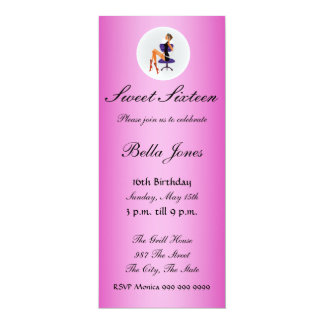 """Sweet sixteen Pink and Gold 16  Invitation 4"""" X 9.25"""" Invitation Card"""