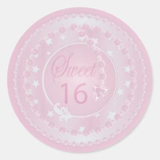Sweet Sixteen Pink Birthday Classic Round Sticker