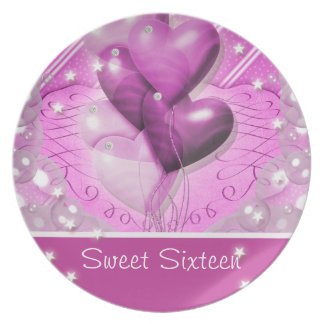 """Sweet sixteen"" pink birthday party 16th Melamine Plate"