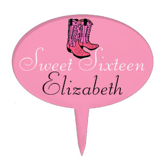 Sweet Sixteen-Pink Cowgirl Boots Cake Topper