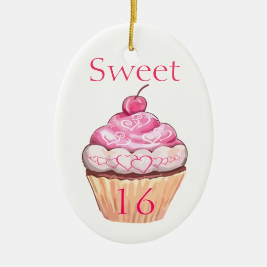 Sweet Sixteen Pink Cupcake With Hearts Ceramic Ornament