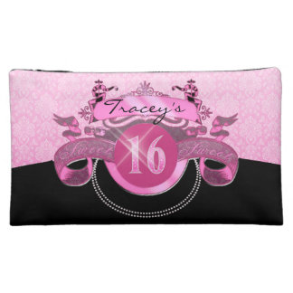 Sweet Sixteen Pink Damask Makeup Bag