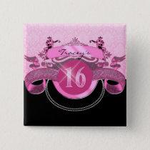Sweet Sixteen Pink Damask Pinback Button