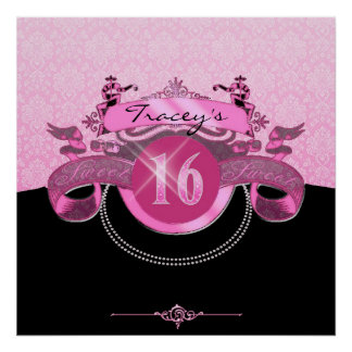 Sweet Sixteen Pink Damask Posters
