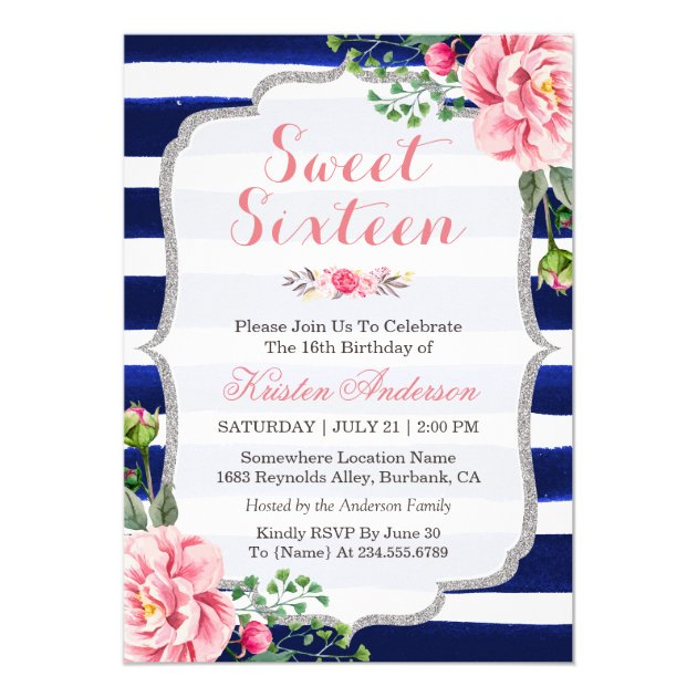 Sweet Sixteen Pink Floral Silver Blue Stripes Card
