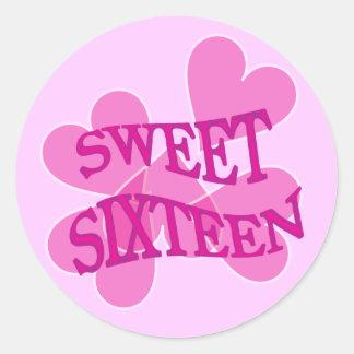 Sweet Sixteen Pink Hearts Birthday Classic Round Sticker
