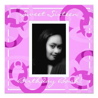 Sweet Sixteen Pink Mod Circles Birthday Card