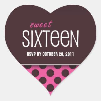 Sweet Sixteen Pink Polka Dot | RSVP Heart Sticker