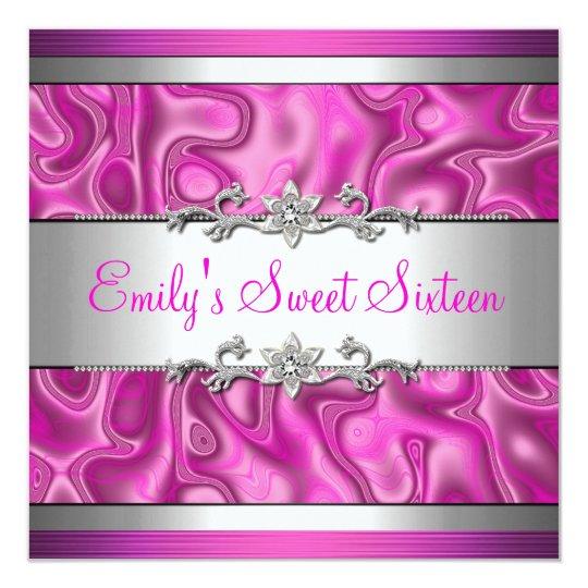 Sweet Sixteen Pink Silver Diamond jewel 2 Card
