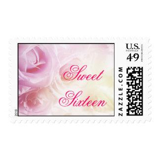 Sweet Sixteen Pink & White Rose Postage Stamps