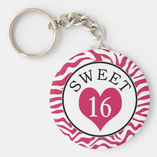 Sweet Sixteen Pink Zebra and Heart Keychain