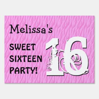 Sweet Sixteen Pink Zebra Birthday Celebration M Sign