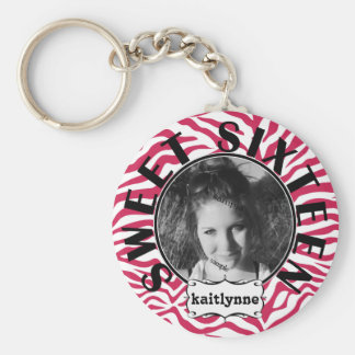 Sweet Sixteen Pink Zebra with Photo and Name Keychain