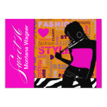 Sweet Sixteen Posh Popp Zebra hot pink   orange 5x7 Paper Invitation Card