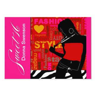 Sweet Sixteen Posh Popp Zebra red | hot pink Card