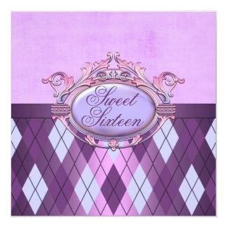 Sweet Sixteen Purple Diamond Birthday Invitation