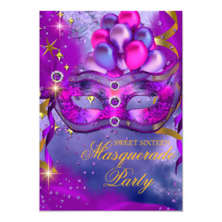 Sweet Sixteen Purple Gold Blue Masquerade Party Card