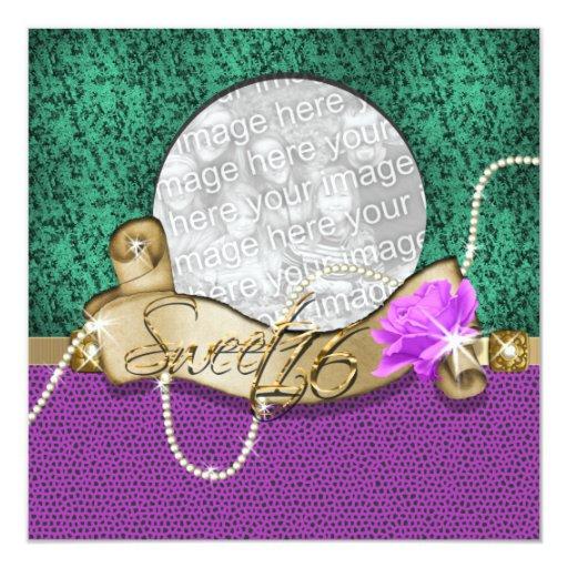 """sweet sixteen"" purple green bling 16 birthday card"