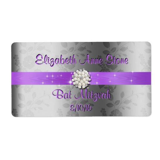 Sweet Sixteen  Purple & Pearls Water Bottle Labels