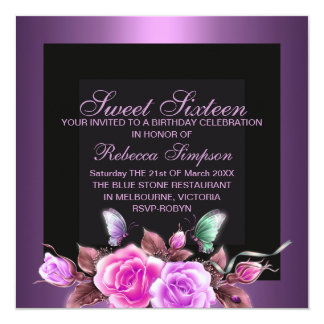 Sweet Sixteen Purple Rose Birthday Invitation