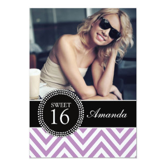 SWEET SIXTEEN PURPLE ZIG ZAG CHEVRON PATTERN CARD