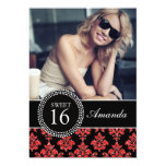 SWEET SIXTEEN, RED GLITTER,  BLACK DAMASK PERSONALIZED ANNOUNCEMENTS