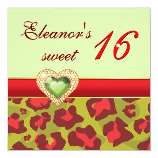 Sweet sixteen red olive green leopard jewel heart card