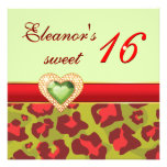 Sweet sixteen red olive green leopard jewel heart personalized announcement