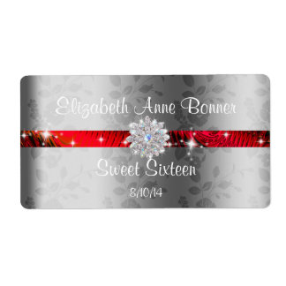 Sweet Sixteen Red with Sparkle, Personalized Label