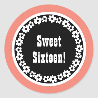 Sweet Sixteen Round Frame and Coral v12b Classic Round Sticker