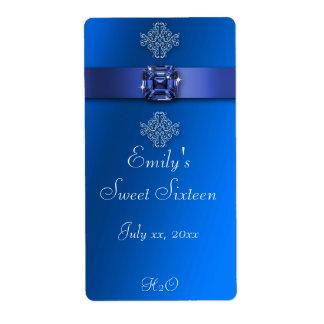 Sweet Sixteen, Royal Blue, Water Bottle Label