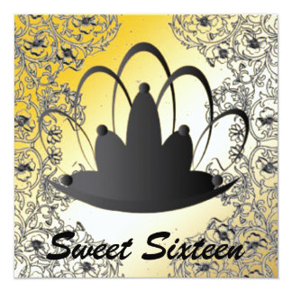 "Sweet Sixteen Royal Tiara Black Gold Invitation 5.25"" Square Invitation Card"