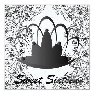 Sweet Sixteen Royal Tiara Black White Invitation