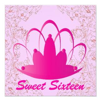 "Sweet Sixteen Royal Tiara Fuschia Pink Invitation 5.25"" Square Invitation Card"