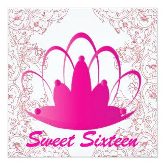 "Sweet Sixteen Royal Tiara Fuschia White Invitation 5.25"" Square Invitation Card"