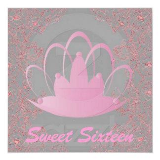 """Sweet Sixteen Royal Tiara Pink Grey Invitation 5.25"""" Square Invitation Card"""
