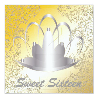 Sweet Sixteen Royal Tiara Silver Gold Invitation