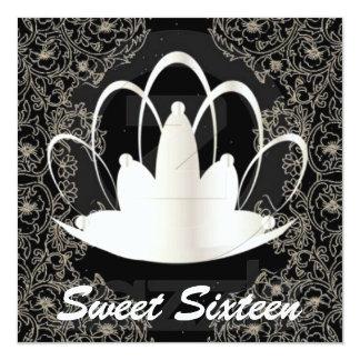 "Sweet Sixteen Royal Tiara White Black Invitation 5.25"" Square Invitation Card"