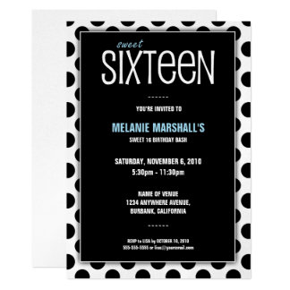Sweet Sixteen Silver & Black | Party Invitations