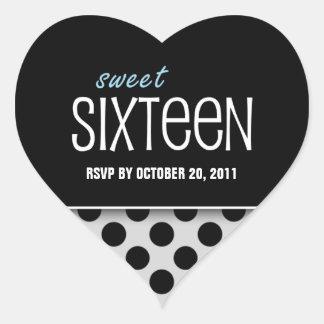 Sweet Sixteen Silver Black Polka Dot | RSVP Heart Sticker
