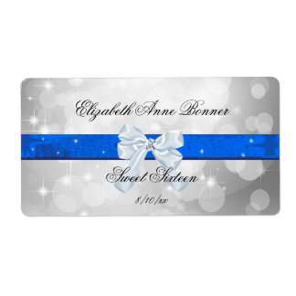 Sweet Sixteen, Silver, Blue, Faux Satin Label