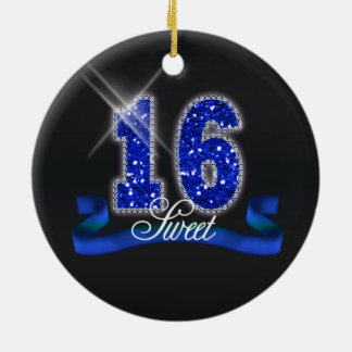 Sweet Sixteen Sparkle Blue ID118 Ceramic Ornament