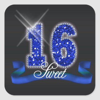 Sweet Sixteen Sparkle Blue ID118 Square Sticker