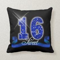 Sweet Sixteen Sparkle Blue ID118 Throw Pillow