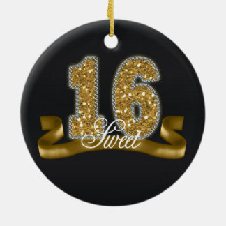 Sweet Sixteen Sparkle Gold ID243 Ceramic Ornament