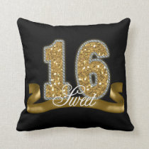 Sweet Sixteen Sparkle Gold ID243 Throw Pillow
