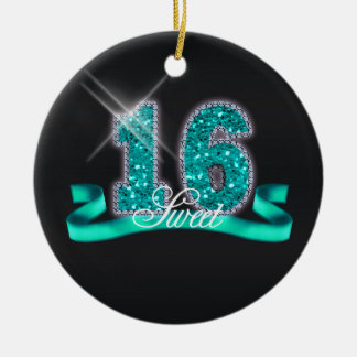 Sweet Sixteen Sparkle Pink ID120 Ceramic Ornament