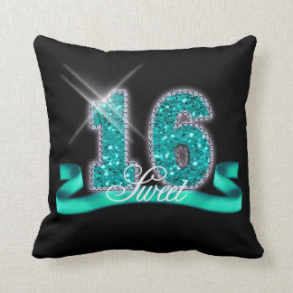 Sweet Sixteen Sparkle Teal ID120 Throw Pillow