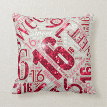 Sweet Sixteen Sparkle Word Cloud Red ID265 Throw Pillow